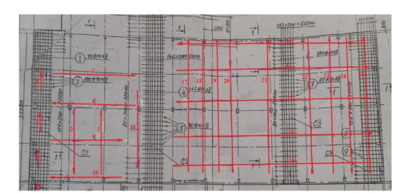 Расположение и направление профилей исследования на территории складского помещения