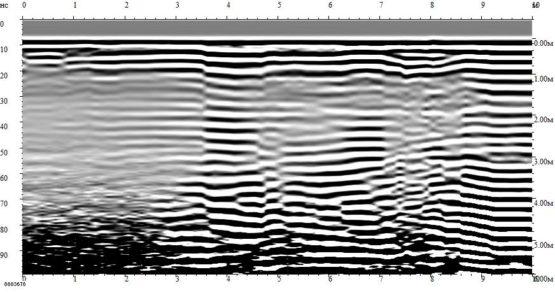 Глубинный разрез по георадиолокационному профилю №1